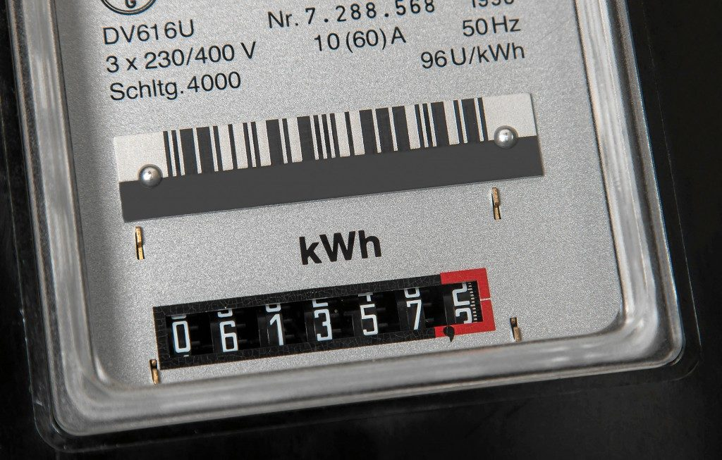 a gray electrical meter