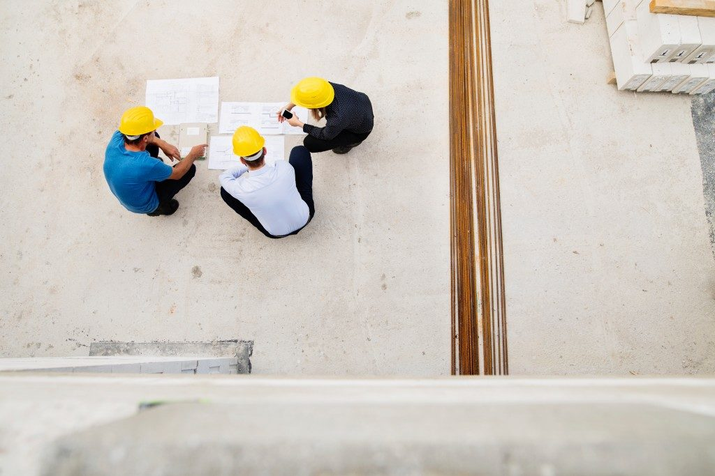 men planning in construction site