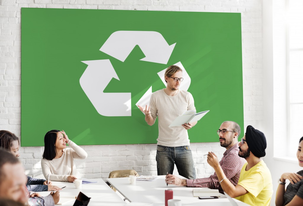 Business meeting about recycling