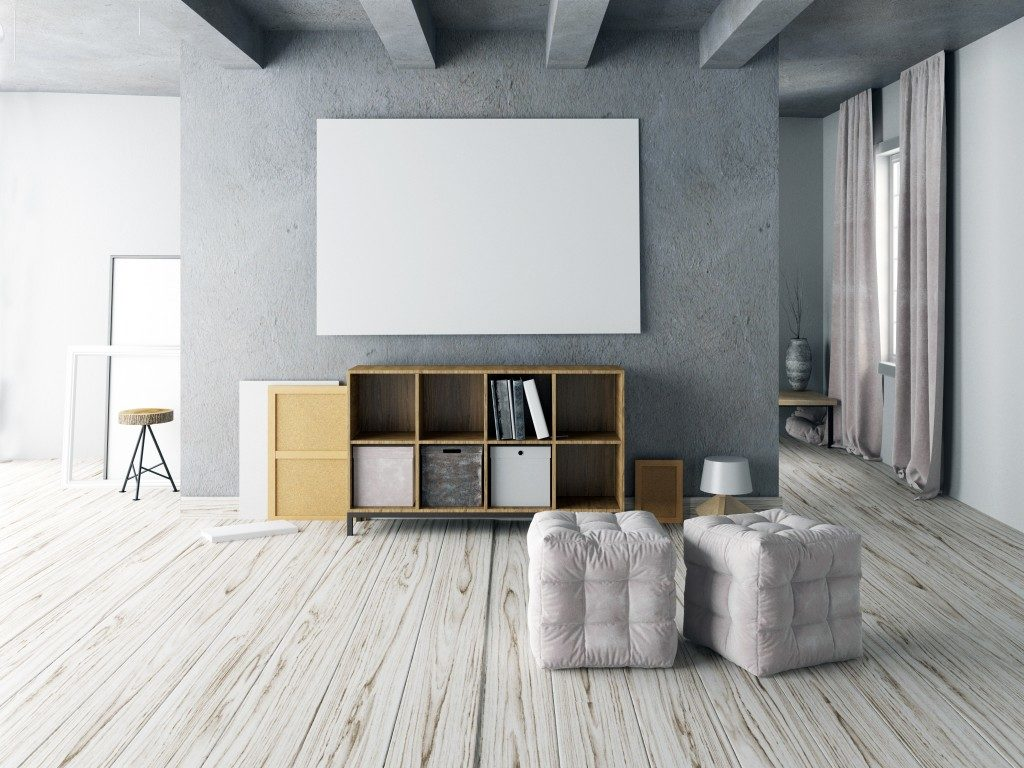 Modern living room with cabinet