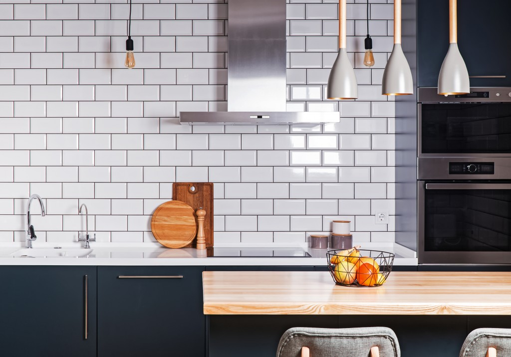 white tiles as a wall in a kitchen