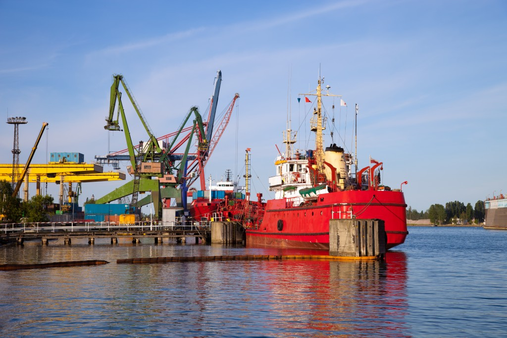 marine vessel docked on the port