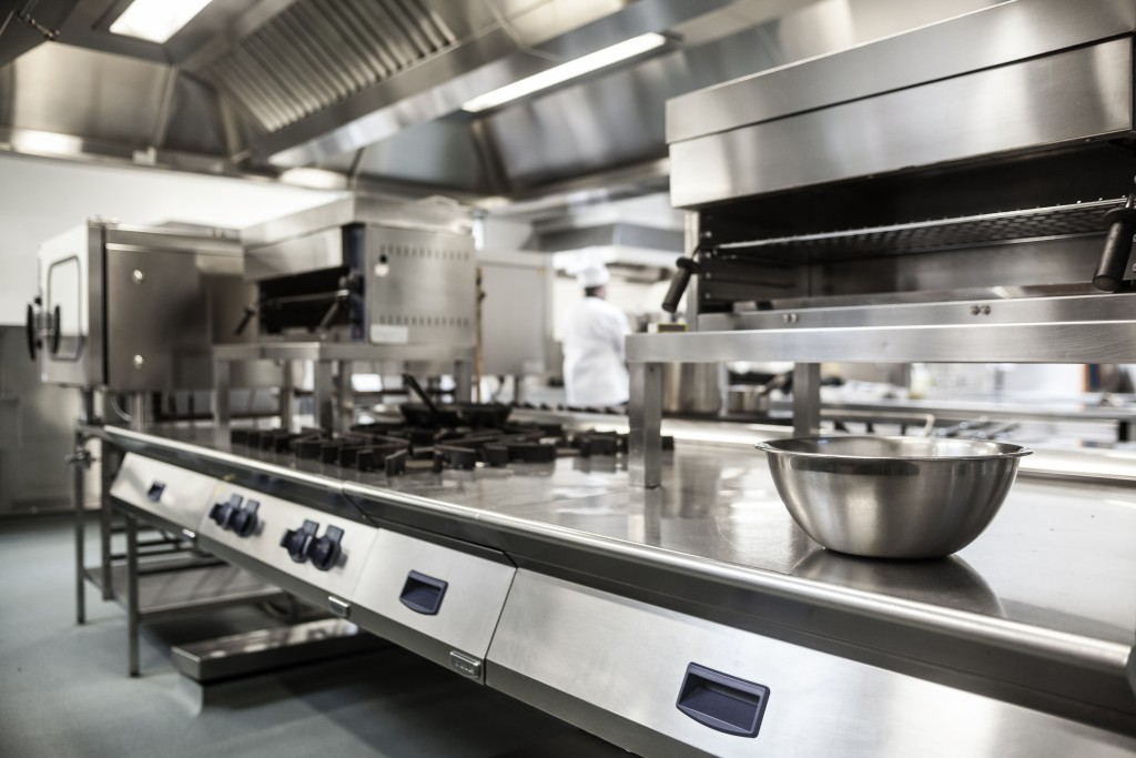 work surface and kitchen equipment in professial kitchen